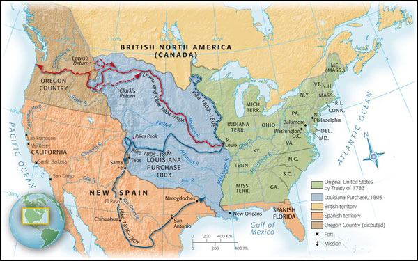 The Growing Republic Defining And Defending A New Nation - Map of us after louisiana purchase